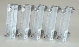 Rota meters uit glas or Plexiglas met of zonder naaldventiel en alarm